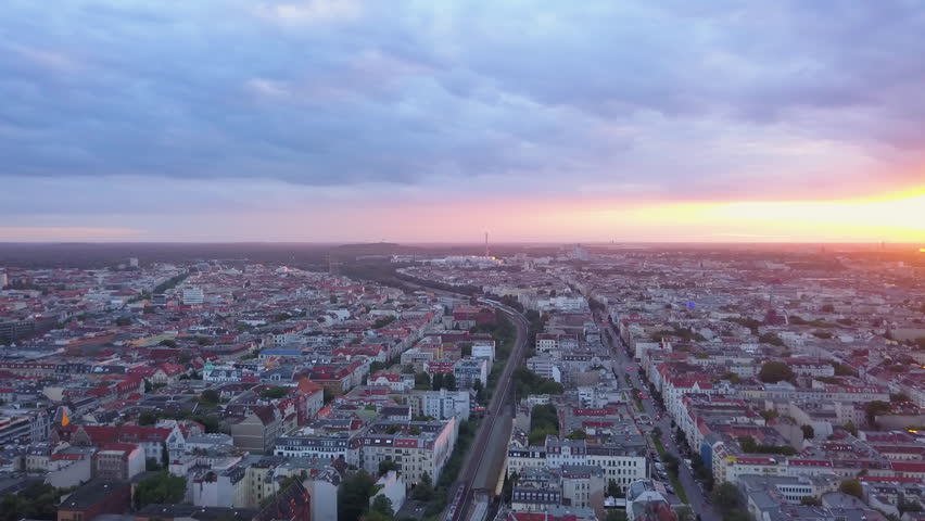 Germany Berlin Aerial v11 Flying over Charlottenburg area with sunset views 8/17