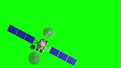 Green screen, fictional observation satellite flies past, 3d animation