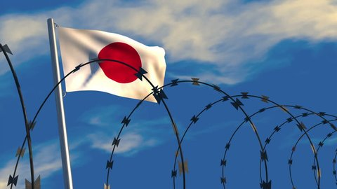 3D animation of a Japanese flag waving on a flagpole with razor wire in the foreground; depicting security and barriers between nations.
