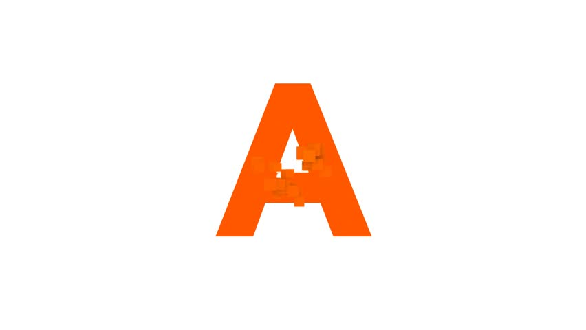 latin letter A from letters of different colors appears behind small squares. Then disappears. Alpha channel Premultiplied - Matted with color white