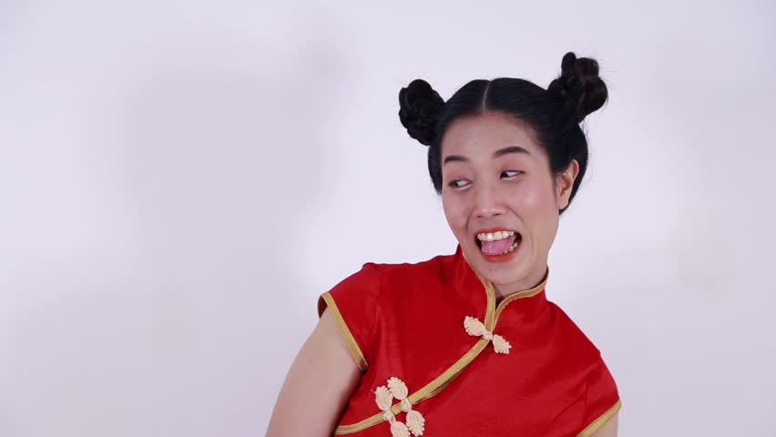 happy woman wear red cheongsam in concept of happy chinese new year