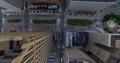 Tilt down aerial flyover of the streets downtown in Detroit. Cool Perspective.