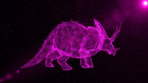 Triceratops, prehistoric extinct dinosaur walking through particles, fantasy 3D animation
