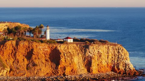 Drone video of Palos Verdes Lighthouse during sunset. California.