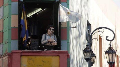 "Statue of Maradona in Caminito Street (""little walkway"" or ""little path"" in Spanish), in La Boca neighborhood, Buenos Aires, Argentina."