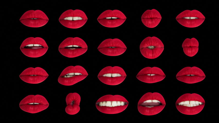 Cutout of a woman's beautiful red lips pouting and moving | Shutterstock HD Video #1007367463