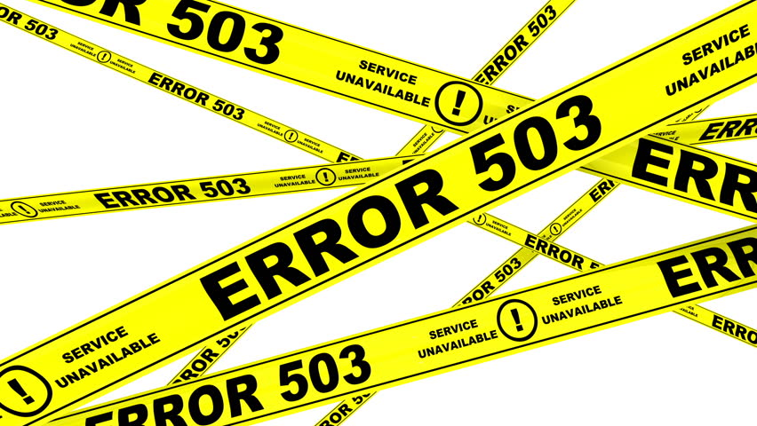 ERROR 503. Yellow warning tapes (cordon tapes) with inscription ERROR 503 - Service unavailable. Footage video | Shutterstock HD Video #1007390023