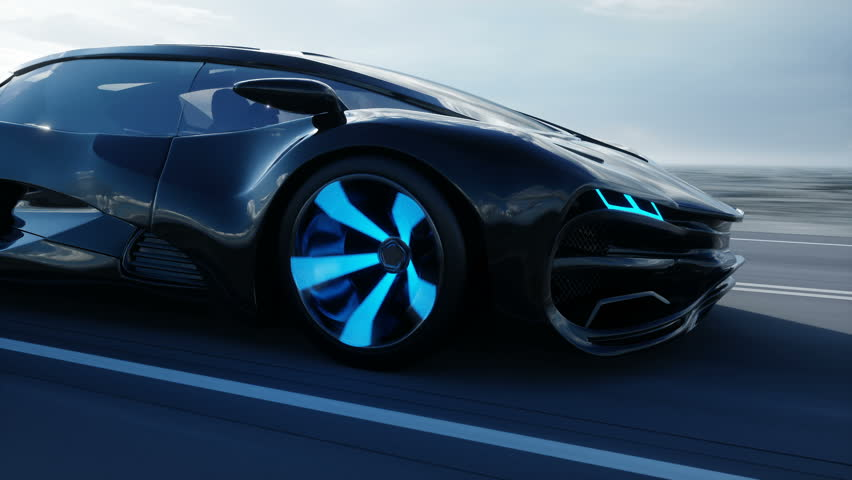 Black futuristic electric car on highway in desert. Very fast driving. Concept of future. Realistic 4k animation. | Shutterstock HD Video #1007422423