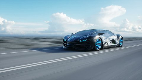 black futuristic electric car on highway in desert. Very fast driving. Concept of future. Loopable. footage. Realistic 4k animation.