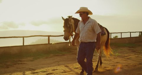 Cowboy walking his horse at sunset