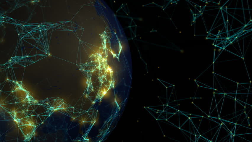 Connections form world network. Loops: 0:00-42:00, 10:15-31:15, 35:00-end. Globe on left with copy space. Point brightness represents city population size. Global communication, internet, social media | Shutterstock HD Video #1007480995