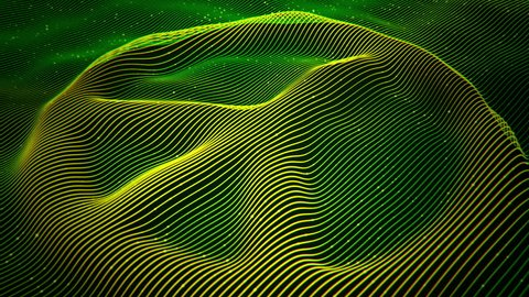 Abstract background with wavy color lines as shape peace symbol. Animation ripples  and flickering particles on surface from neon lines. Animation of seamless loop.