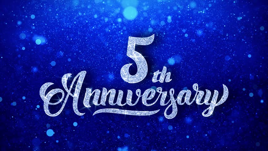 Happy anniversary greeting shiny text wishes blue glitter