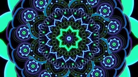 Mandala looped animation pattern for meditation, yoga,  chill-out, relaxing, music videos, trance performance, traditional Hindu and Buddhist events.