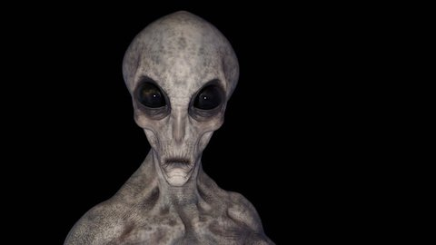 Extraterrestrial, scifi,the alien looks around,loop, animation, alpha  channel
