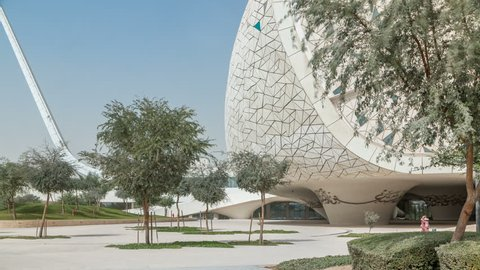 View of the Education City Complex timelapse launched by the Qatar Foundation in Doha. Faculty of Islamic Studies and mosque. It includes several western universities