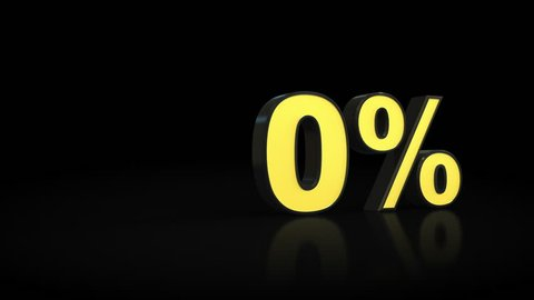 Counting from zero 0 to sixteen 16 % percent 3D animation