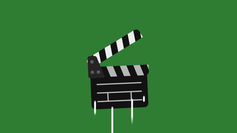 Transition Clapperboard Flies Up and Falls. Motion Graphics. Transparent Background.