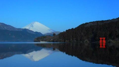 Inverted Mt. Fuji in Lake Ashi and Torii of Peace of Hakone Shrine Japan 02/09/2018