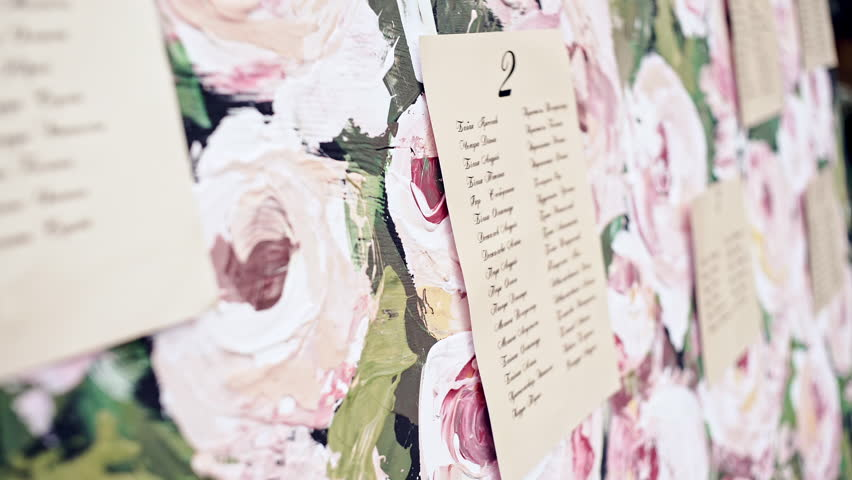 Original vintage white board with pink decoration and ribbons and a guest list, heart and bucket in the background.