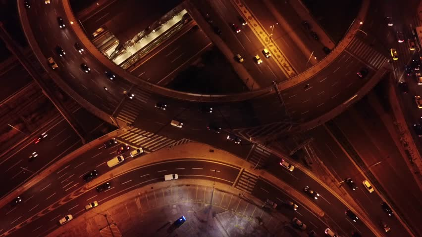 Aerial night video of ring road passing through city center | Shutterstock HD Video #1007585533