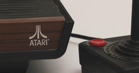 February 11, 2018, Bettendorf, Iowa, Atari 2600 Video Game System - Atari Logo And Joystick