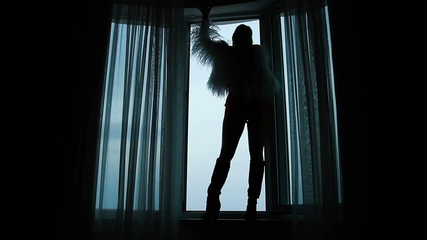 Silhouette of a woman standing on a window sill near an open window | Shutterstock HD Video #1007615983