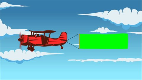 Animation of cartoon airplane towing an advertising green color banner.