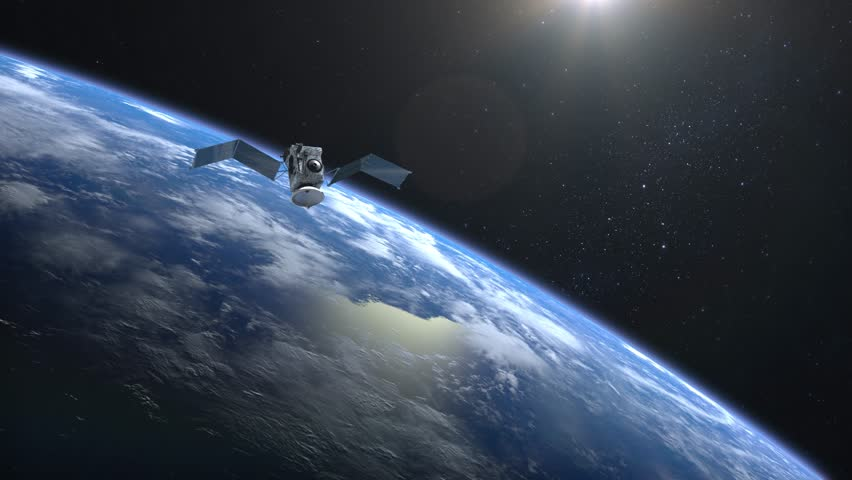 The satellite scan and monitor the Earth. The solar panel opens. The satellite is slowly approaching. The Earth's horizon is turned to the right. The earth rotates slowly. 4K. | Shutterstock HD Video #1007645443