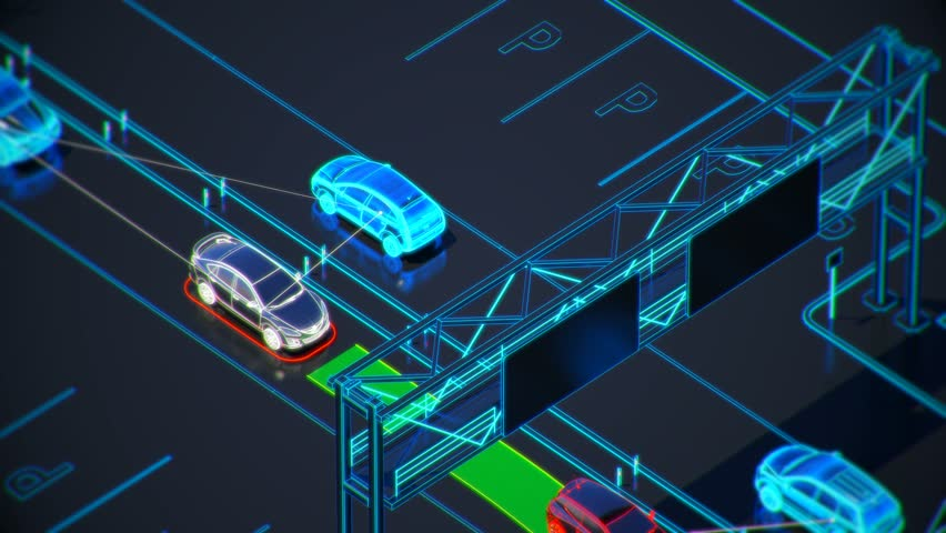 autonome transportation system concept, smart city, Internet of things, vehicle to vehicle, vehicle to infrastructure, vehicle to pedestrian, abstract image visual 4k 3d animation