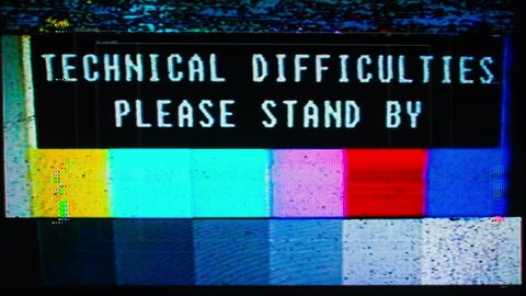 television test patterns and colour bars with glitch interference and distortion