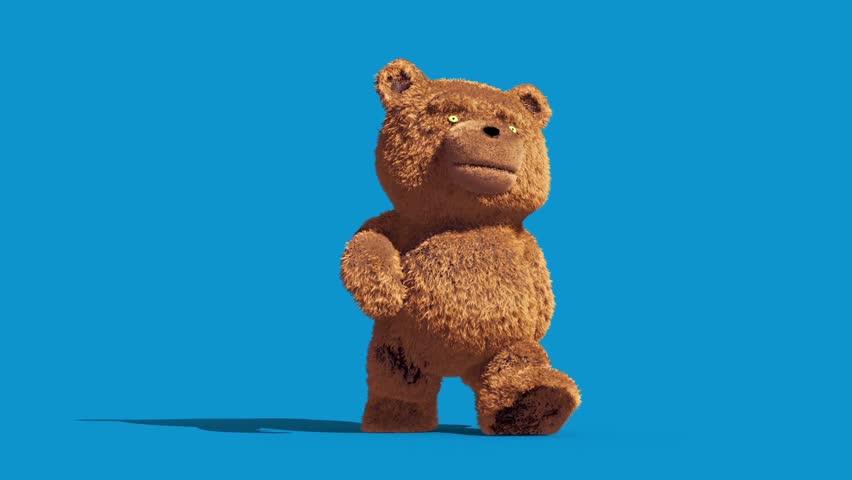 Teddy Bear Real Fur Walkcycle Blue Screen Loop 3D Renderings Animations | Shutterstock HD Video #1007678653