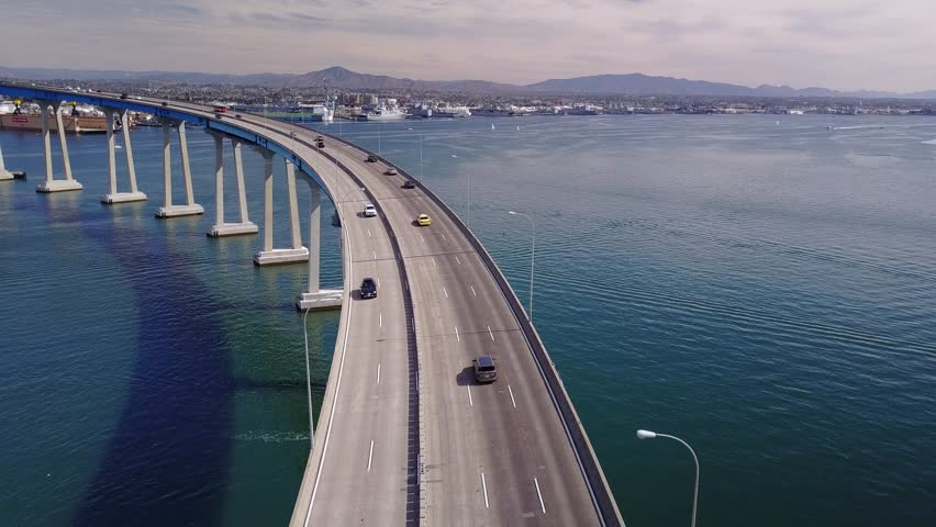 San Diego - Coronado Bridge - Drone Video. Aerial Video of San Diego - Coronado Bridge, locally referred to as the Coronado Bridge, is a prestressed concrete/steel girder bridge.