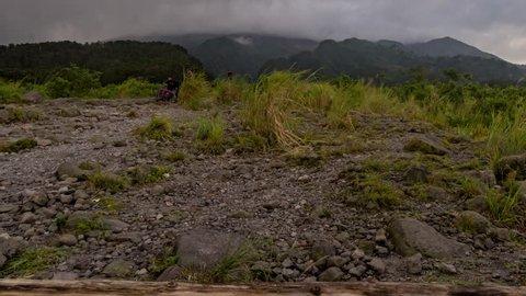 Time Lapse at Bunker Kaliadem, Sleman Yogyakarta which location of Mount Merapi view at jogjakarta. Tilt from left.