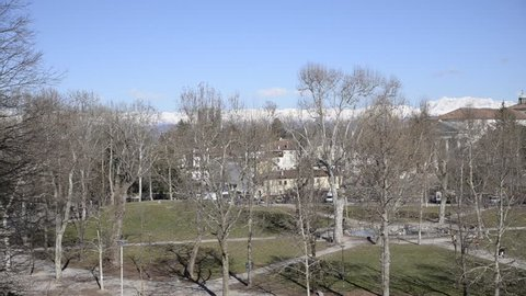 Udine, Italy /Udine, 14/02/2018: panoramic video from the high of Piazza Primo Maggio with movement from left to right. Piazza Primo Maggio is among the largest in the city of udine udine.