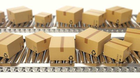 Cardboard boxes progresses along conveyor belt loopable animation. Cardboard boxes on conveyor belt