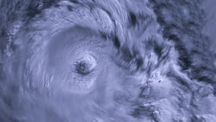 The hurricane storm with lightning over the ocean., satellite view.