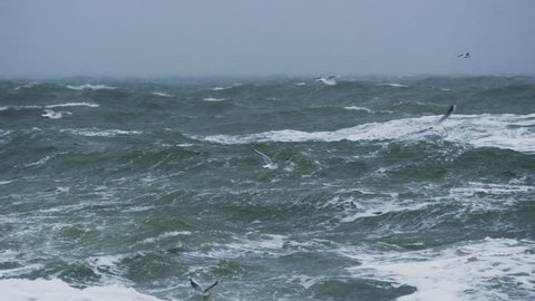 Long shot of rough sea with snow storm