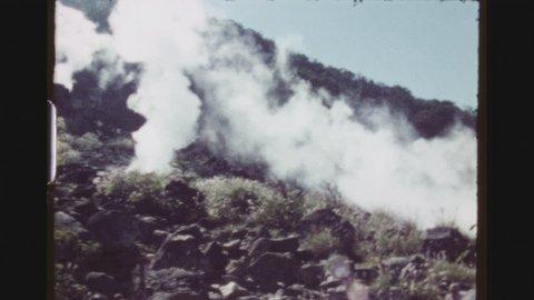 HAKONE, JAPAN, APRIL 1978. Two Shot Sequence At The Fuji Hakone Izu National Park. Volcanic Hot Springs