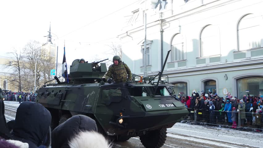 TALLINN, ESTONIA - FEBRUARY 24, 2018: Centennial military parade in Tallinn's Freedom Square. The Independence Day parade marking the 100th anniversary of the Republic of Estonia