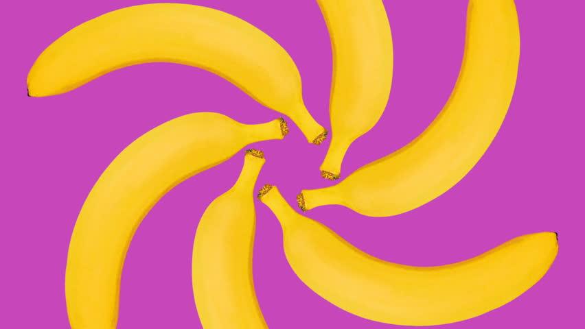 Minimal Motion art. Bananas background
