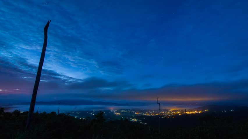 Beautiful vantage point scenery of dramatic cloud and morning fog over the valley of Ranau town in Sabah Malaysia. Time lapse footage