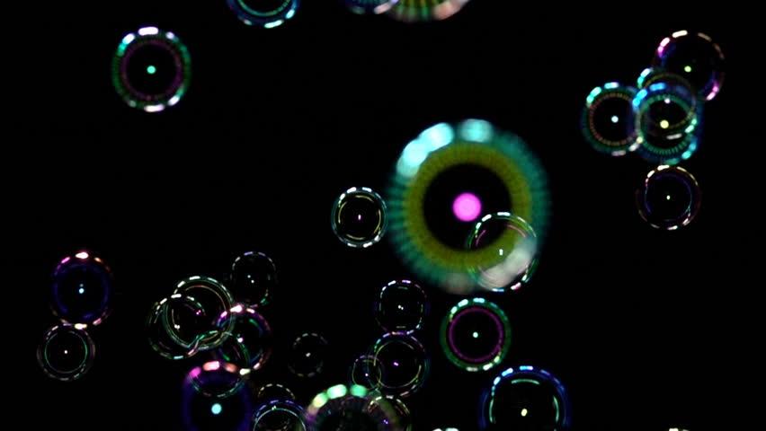 Soap Bubble background texture against black backdrop