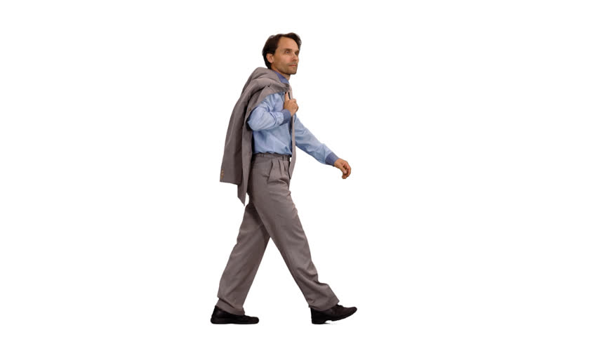 Side view walking business man with suit jacket in hand, alpha channel | Shutterstock HD Video #1007917333