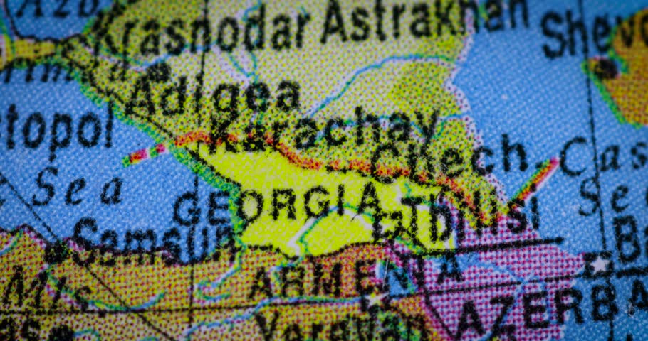 Jakarta indonesia february 21 2018 closeup of a globe with february 21 2018 closeup of georgia country map on the gumiabroncs Choice Image