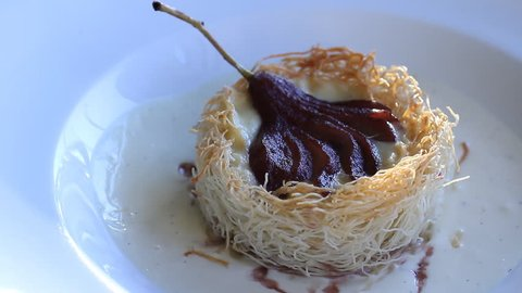 Noodles pear dessert in a glass pear ice cream. Vegetarian concept. Kadaif - All About the Greek and Middle Eastern Pastry