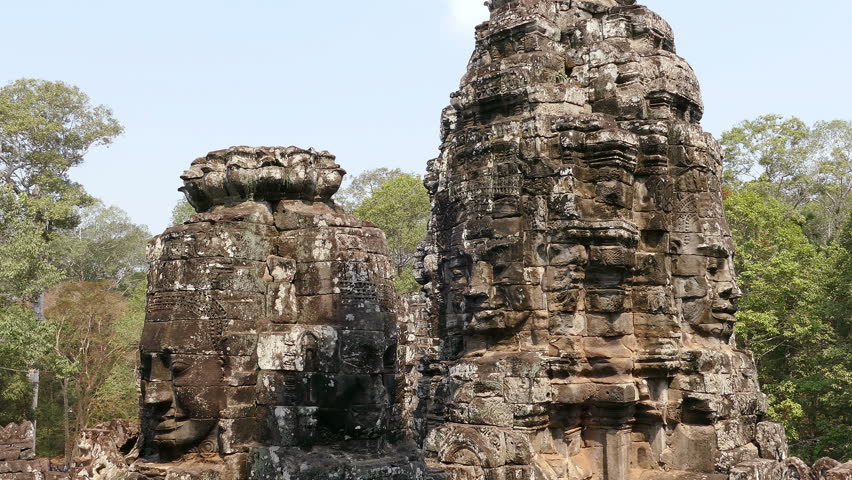 Panorama of ancient Bayon temple in Angkor Wat at Siem Reap, Cambodia. #1007968213