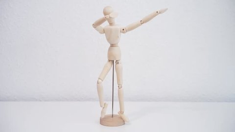 The Mannequin Dabbing. Popular dance move and the internet meme. Stop motion animation