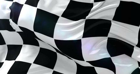 F1 race flag waving at wind, loop
