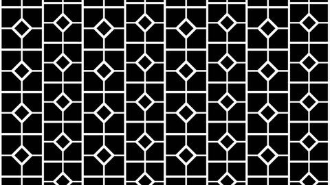Black and white animated background featuring a seamless pattern. Perfect for masks,  overlays, mapping textures or as an elegant Art Deco background.